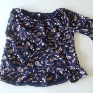 Dark blue floral blouse (stretchy material)